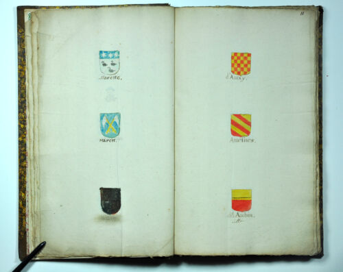 ANTIQUE ORIGINAL HANDPAINTED HERALDRY COAT of ARMS FAMILY MANUSCRIPT 1701