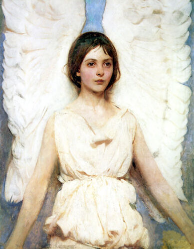 Dream-art Oil painting beautiful young girl portrait nice angel huge Wing canvas