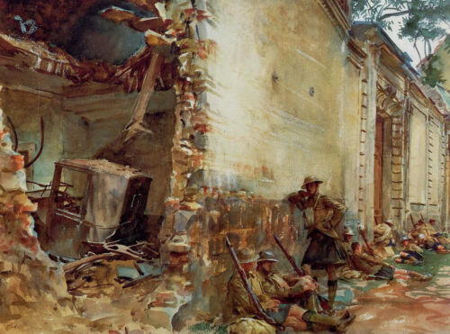 Hand painted art Oil painting Sargent - Street in Arras with Soldiers on canvas