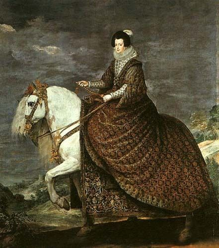 """Art oil painting horsewoman queen isabel of bourbon equestrian in landscape 36"""""""
