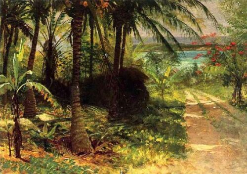 Stunning No framed Oil painting Tropical Landscape in summer by the river canvas