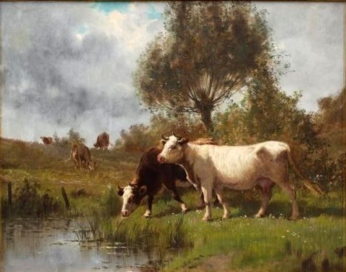 """Dream-art Oil painting cows cattles by pond in landscape with trees canvas 36"""""""