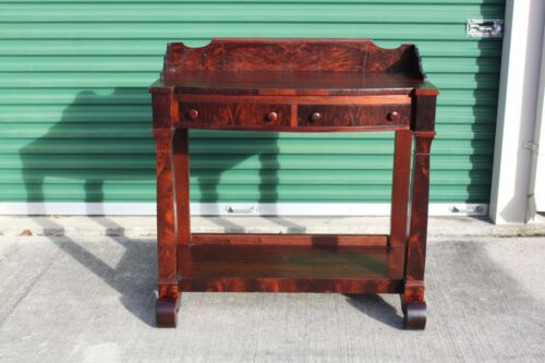 Gorgeous Empire Revival Flame Mahogany Two Drawer Server Table w Bottom Shelf