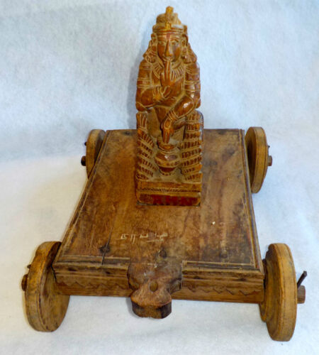 GODDESS/GOD ON WOOD CART W/WHEELS 1800 THAILAND VOTIVE SCULPTURE INDIA CHILD TOY
