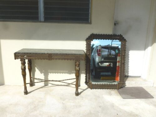 INCREDIBLE 1920'S FRENCH WROUGHT IRON CONSOLE AND MIRROR  STYLE OF EDGAR BRANDT