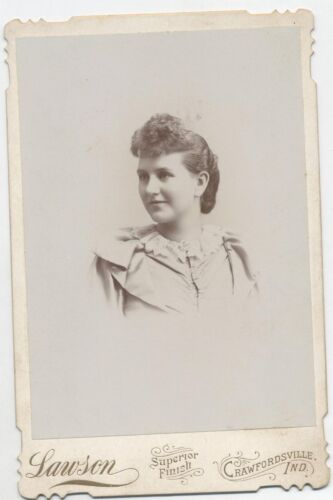 PORTRAIT OF WOMAN IN PERIOD DRESS WITH LARGE BANGS. CRAWFORDSVILLE, IND. CABINET