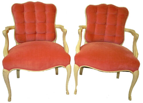 Vintage Pair of Country French Style Decorative Arm Chairs Armchairs