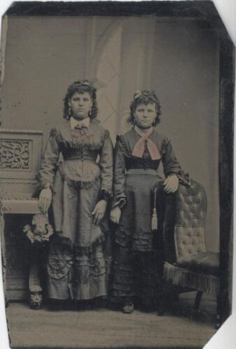 TINTYPE OF TWO VERY WELL-DRESSED YOUNG SISTERS W/ TINTED CLOTHES -ORIGINAL
