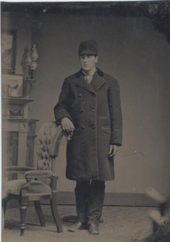 TINTYPE OF GOOD-LOOKING YOUNG MAN IN LARGE   UNUSUAL HAT W/ CHAIR -ORIGINAL
