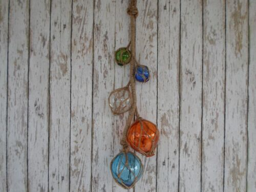 (5) Glass Fishing Floats On Rope ~ Nautical Fish Net Decor ~ Blue, Green, Clear