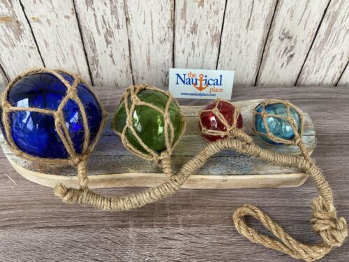 (4) Glass Fishing Floats On Rope ~ Nautical Fish Net Luau Decor ~ Red Blue Green