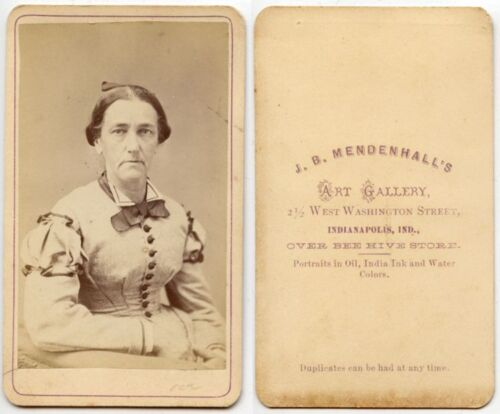 ANTIQUE CDV PORTRAIT OF A LADY FROM INDIANAPOLIS, INDIANA, BY MENDENHALL, STUDIO