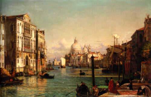 Oil painting Friedrich Nerly the Younger - Grand cityscape of Venice with church