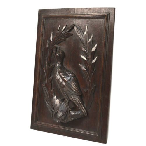 Antique Carved Oak French Louis XIII / Hunt Architectural Salvaged Bird Panel