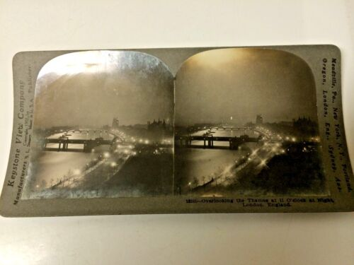 STEREO CARD  NIGHT IN LONDON  1909