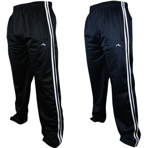 New Mens Tracksuit Bottoms Striped Silky Casual Gym Jogging Joggers Sweat Pants