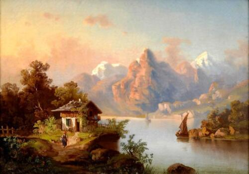 Huge oil painting Guido Hampe - Sunset Landscape with woman and house by river