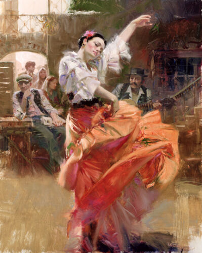 Dream-art hand painted Oil painting female portrait young Dancer Flamenco-In-Red