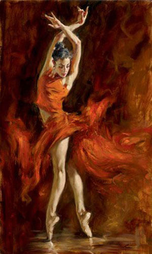Dream-art Oil painting female portrait young ballet girl Fiery Dance on canvas