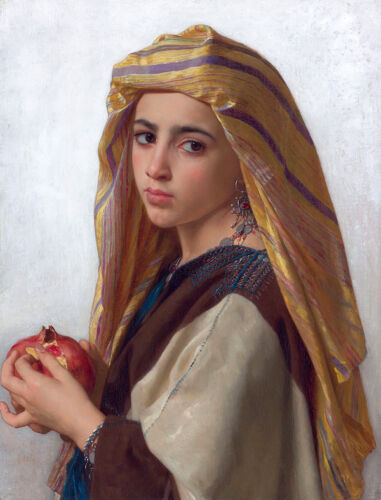Oil painting William Bouguereau - Girl with a Pomegranate in landscape & scarf