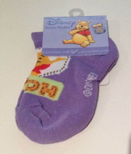 NEW in Pack Purple Pooh Bear Socks x 2 Pair Size 2 - 3 Years- FREE POST!