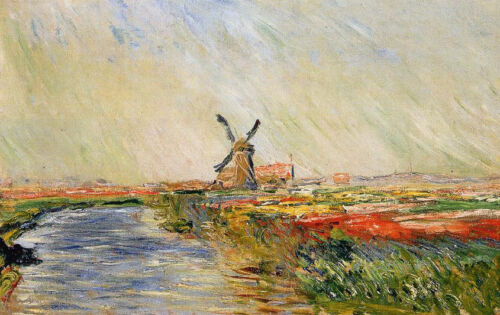 Oil painting Claude Monet - Field of Tulips in Holland impressionism landscape