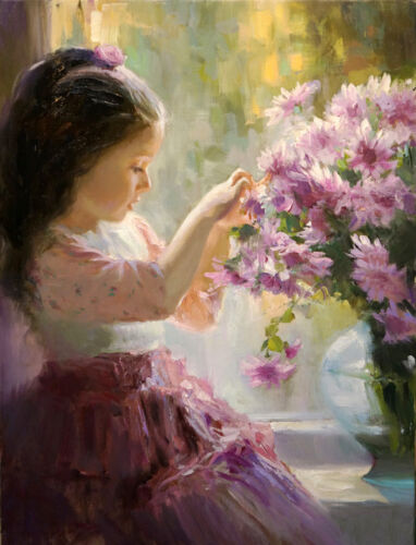 Dream-art Oil painting beautiful little girl with spring flowers hand painted !!