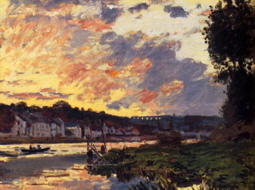 Large Oil painting Claude Monet - The Seine at Bougeval, Evening canvas