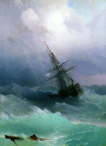 Dream-art huge Oil painting Ivan Aivazovsky - Tempest seascape waves ship canvas