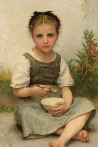 """Dream-art Oil painting Bouguereau Lunch in the Morning Little girl with bowl 36"""""""