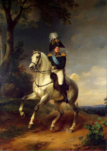 Oil painting Franz Kruger Equestrian Portrait of Alexander I gray horse in view