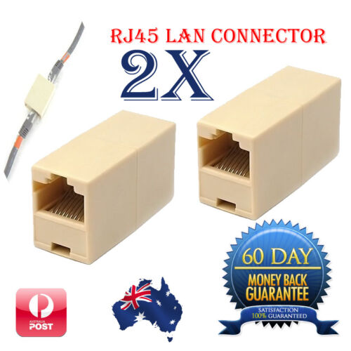 2 x RJ45 Network LAN Cable 5 Cat 6 Cable Joiner Plug Coupler Extender Connector