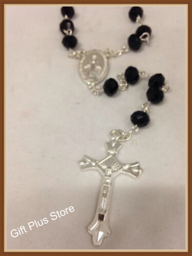Black Glass Crystal Religious ROSARY Beads Necklace With Crucifix