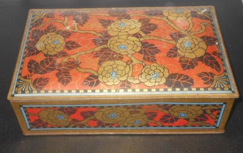 "circa 1900 VICTORIAN Art Nouveau Arts & Crafts tin 9"" Wide 6"" Tall 2-1/2"" Deep"