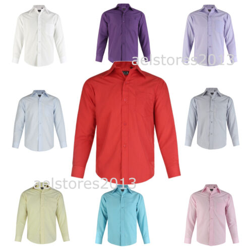 Shirt Plain Formal Party Wedding Long Sleeve Boys Kids New  Age 1 - 15 Years <br/> PLEASE ORDER 1 SIZE LESS/DOWN AS SIZE IS GENERALLY BIG