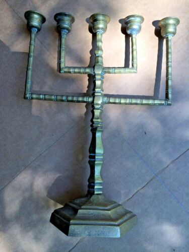 ANTIQUE  CHINA CANDLE STICK OLD BRASS SINGLE