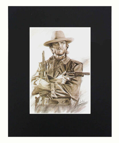 Clint Eastwood Portrait 8x10 matted Art Print Printed Poster Decor picture Gift