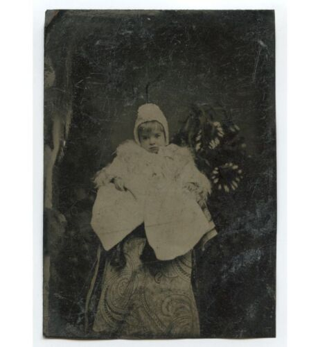 CHILD W/ LIGHT COLORED HAIR, HAT   COAT STUDIO PORTRAIT 1/4 PLATE TINTYPE