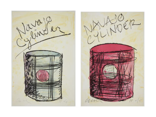 Original, Set of 2 signed Dale Chihuly lithographic prints - Cylinders I & II