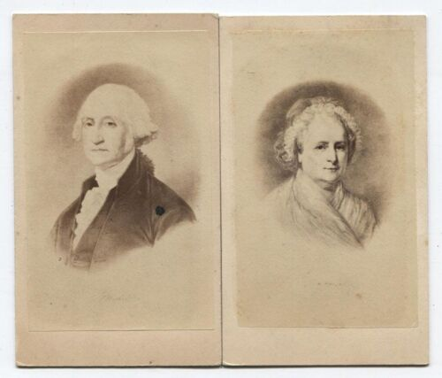 ANTIQUE CDV PHOTOS FROM PAINTINGS OF GEORGE AND MARTHA WASHINGTON