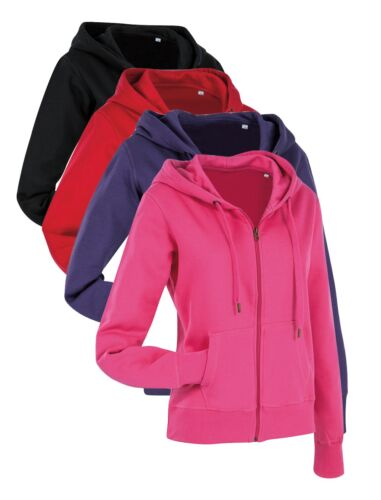 Ladies Womens RED BLACK PINK PURPLE Active Hooded Sweatshirt Zip Jacket Hoodie