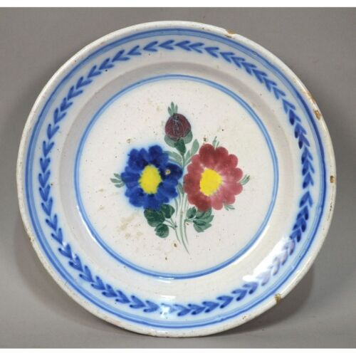 18th C. Antique Hand Painted French Strassbourg Faience Plate