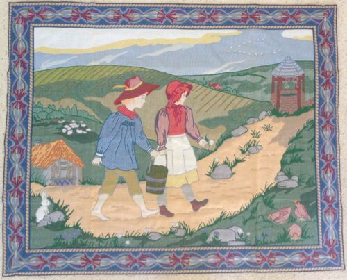 """Charming Jack & Jill Tapestry Wall Hanging, made in NC USA, 42""""x33"""" New w/o Tag"""