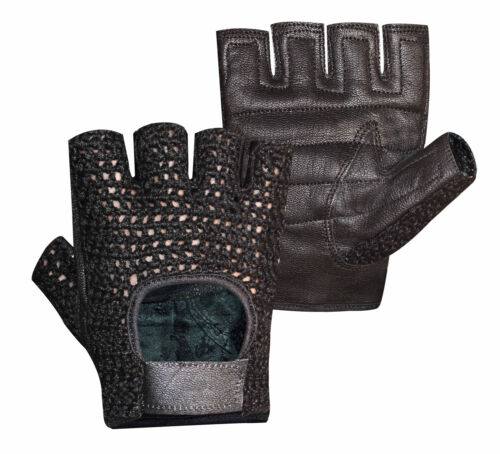 MESH LEATHER GEL PADDED DOUBLE PALM WEIGHT LIFTING EXERCISE GYM WHEELCHAIR GLOVE