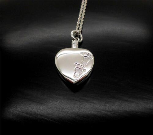 Solid 925 Sterling Silver Heart Baby Foot Prints Memorial Cremation Urn Pendant