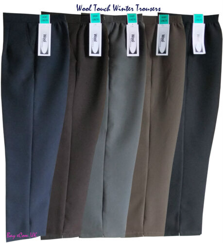 Ladies Women's Winter Half Elastic Wool Touch Causal Quality Work Trousers Pants