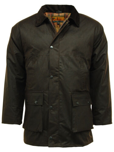 Classic Mens Game Padded Country Style Wax Cotton Rain Jacket Coat