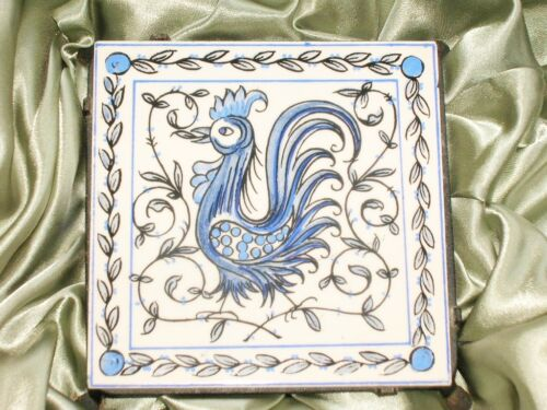 VinTage 2 Pc Rooster Tile w/Iron Trivet m/i Portugal Blue White Outeiro Agueda