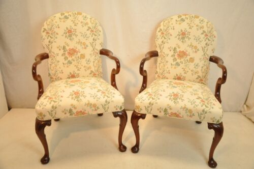 Elegant Pair of Queen Anne Mahogany Arm Chairs New Upholstery