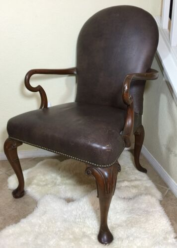 Vintage Kittinger Brown Arm Chair With Nail Head Trim Detail Needs Repair